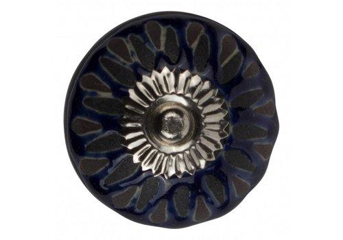 Keramik Möbelknopf Relief - dunkelblau mit schwarz Deko