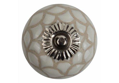 Keramik Möbelknopf Relief - Spinnennetz weiß mit beige
