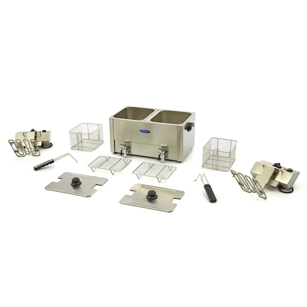 maxima dubbele horeca friteuse frituurpan 2 x 8l met tapkraan maxima kitchen equipment. Black Bedroom Furniture Sets. Home Design Ideas