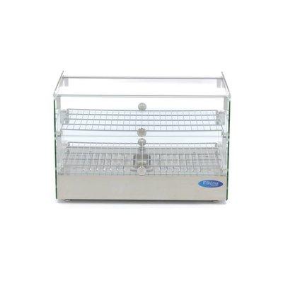 Maxima Acier inoxydable Warming Showcase - 2 étages - 55 cm - 50L