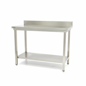 Maxima Stainless Steel Workbench 'Deluxe' 1200 x 600 mm with backsplash