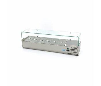 Maxima Aufsatszkühlvitrine / Gekühlte Aufsatzvitrine 140 cm - 1/3 GN