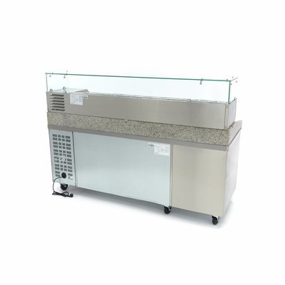 Maxima Pizza Werkstatt / Pizzatisch - 2 Türen - 7 Laden - 202 cm - Inkl.  Aufsatszkühlvitrine