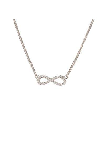 Zilveren ketting met Infinity symbool met zirkonia steentjes