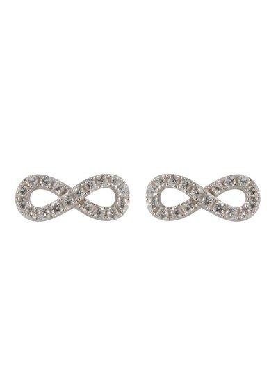 Zilveren fantasie oorknoppen met Infinity gezet met zirkonia steentjes