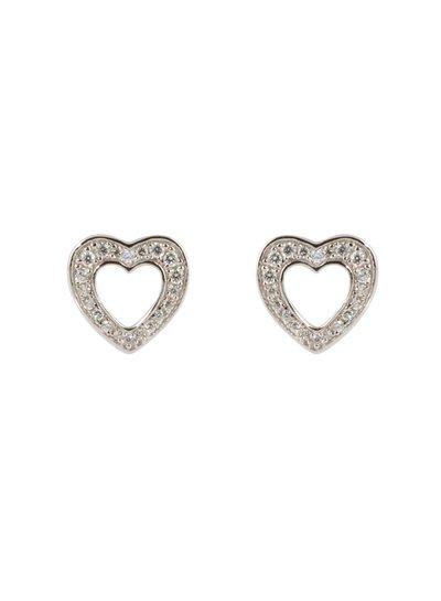 Zilveren fantasie oorknoppen met hartje gezet met zirkonia steentjes