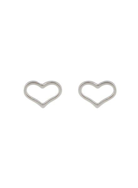 Oorknoppen met hartje Zilver