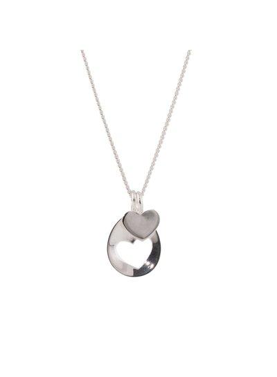 Zilveren ketting met uitgesneden hartje, one for you, one for me!