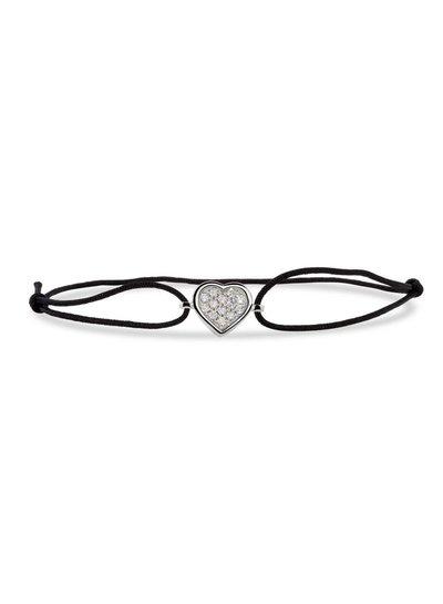 Zwart geknoopte armband met hart