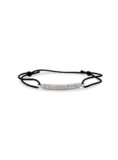 zwart geknoopte armband in zilver met zirkonia