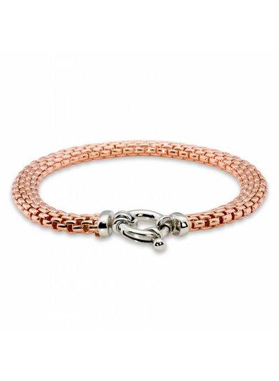 Zilveren armband fantasieschakel rose goudverguld