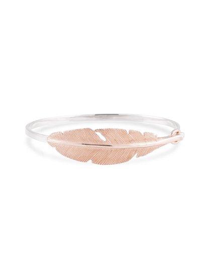 Zilveren armband met veer rosegoud goud verguld