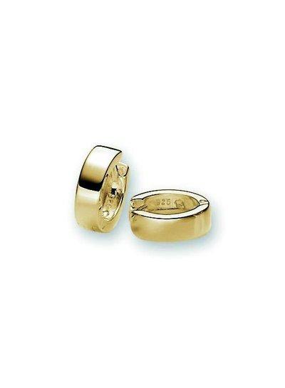 Zilveren klapcreolen vierkante buis goud verguld