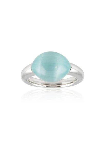 Ring zilver met blauwe cat's eye