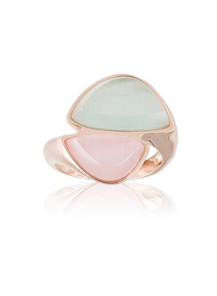 Ring Rose Goud met roze en mintkleurige steen