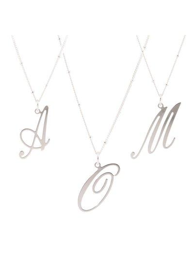Zilveren letterhanger met collier