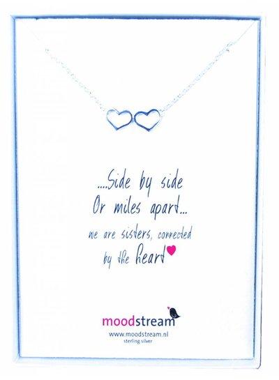 Cadeaudoosje SISTERS ketting met hart hanger in het zilver met zirkonia steentjes