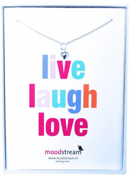 Cadeaudoosje LIVE LAUGH LOVE ketting met hartje