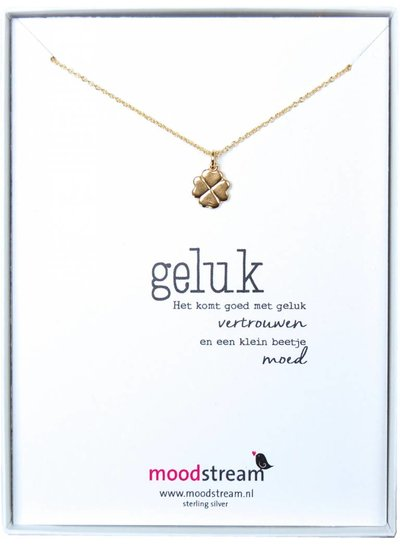 Cadeaudoosje GELUK ketting met klavertje in zilver, rosegoud goud of goudkleurig