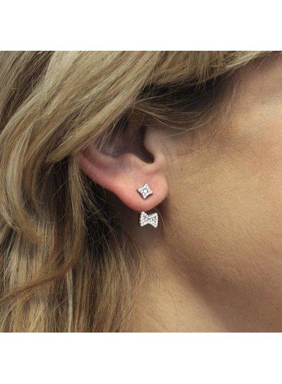 Double dots oorbellen strik zirkonia