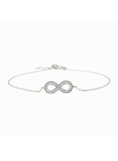 Zilveren armband met Infinity symbool met zirkonia steentjes