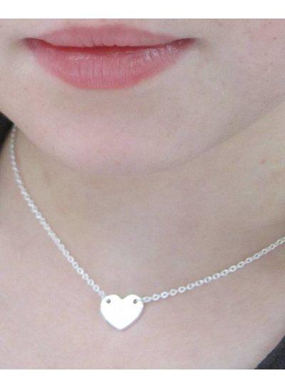 Zilveren naamketting met hartje