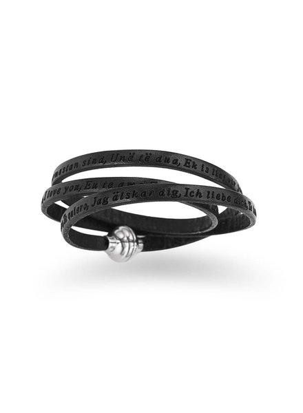Amen Leren armband Ti Amo Zwart