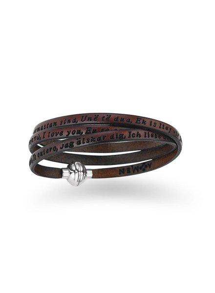 Amen Leren armband Ti Amo bruin