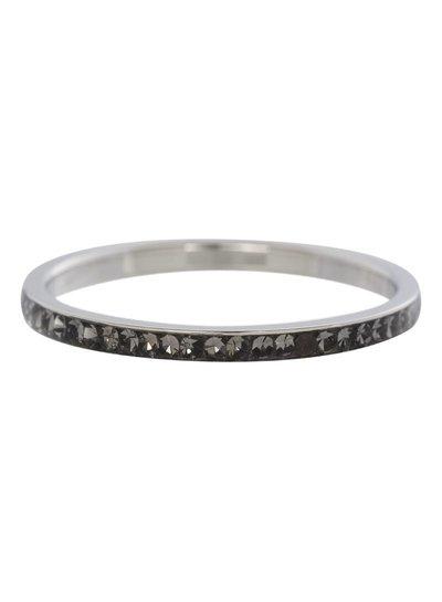 iXXXi Jewelry iXXXi Ring 2 mm Zirconia Blackstone Zilver – R2504-3