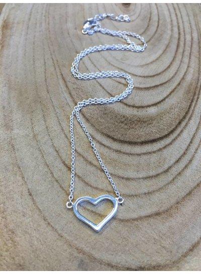 Zilveren ketting met open hartje