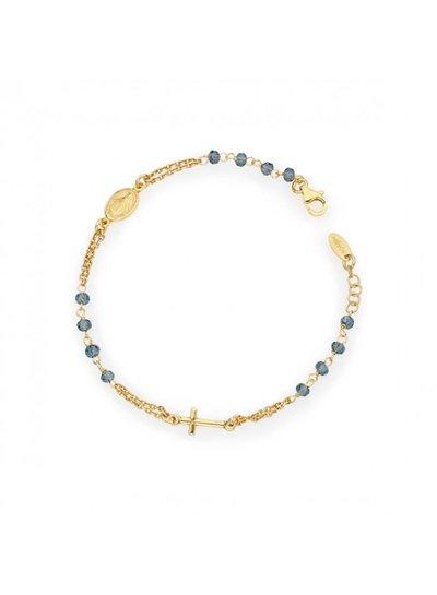 Amen Goudvergulde armband met blauwe kristallen uit de collectie van Amen