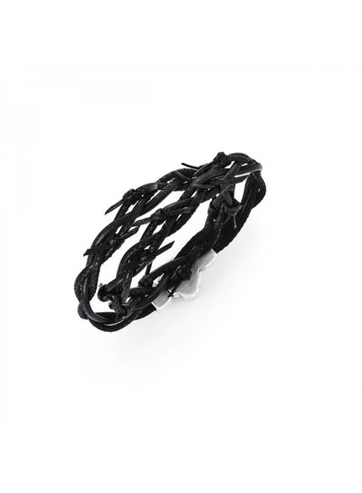 Amen Leren armband in de kleur zwart van het merk Amen