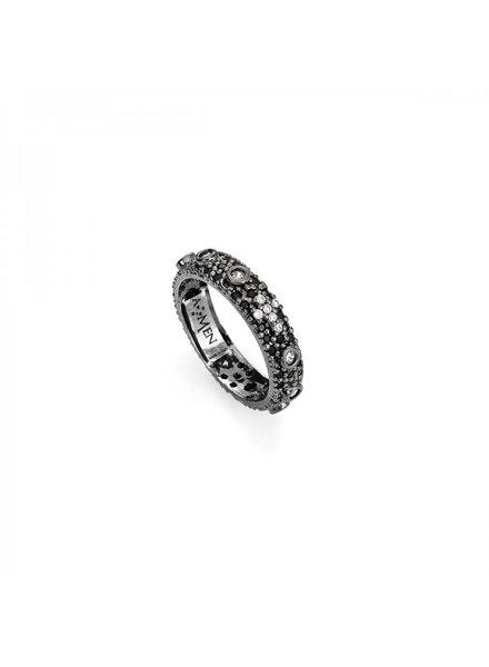 Amen Ring met Zwarte steentjes