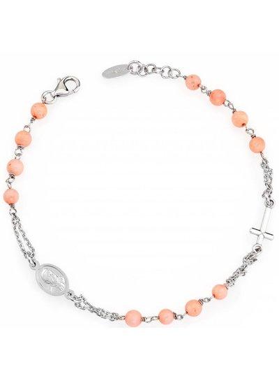Amen Prachtige zilveren armband met zalmkleurige steentjes