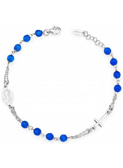 Amen Prachtige zilveren armband met blauwe facetkralen