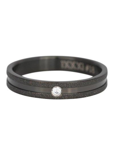 iXXXi Jewelry iXXXi Ring 4 mm Sandblasted Crystal stone Zwart – R3603-5