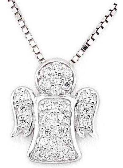 Amen Prachtige ketting met prachtige engel met zirkonia steentjes CLPA
