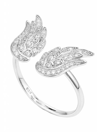 Amen Prachtige damesring met engel vleugels (RW2)