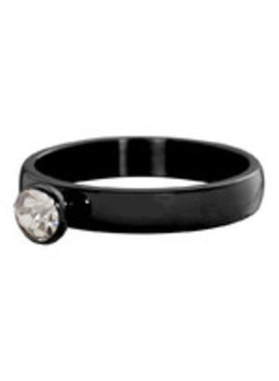 iXXXi Jewelry iXXXi Ring Zirconia 1 steen Crystal Zwart – R3009-5