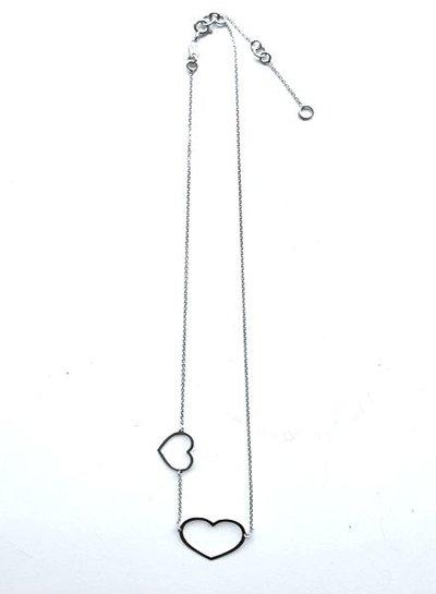 Super Stylish Zilveren ketting met 2 hartjes in zilver, rosé en goud verguld