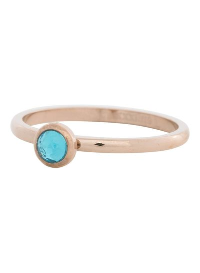 iXXXi Jewelry iXXXi Ring 2 mm  Zirconia Water Blue 1 steen Rose– R4104-2