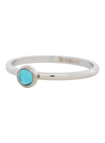 iXXXi Jewelry iXXXi Ring 2 mm  Zirconia Water Blue 1 steen Zilver– R4104-3