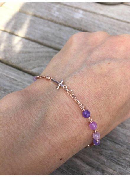 Amen Amen Rosarium armband rosegoud paars