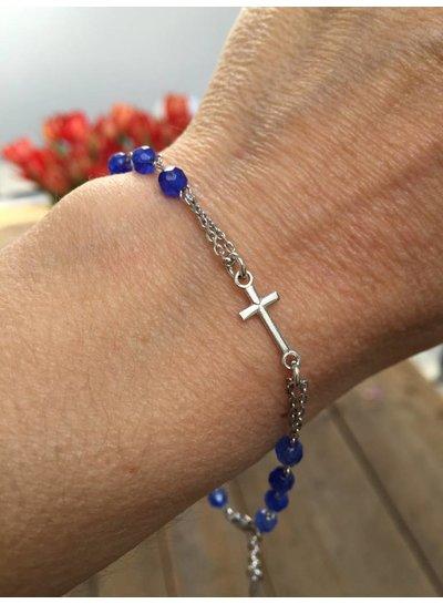 Amen Prachtige geloofsarmband BROBBL3P zilver met blauwe natuurkralen