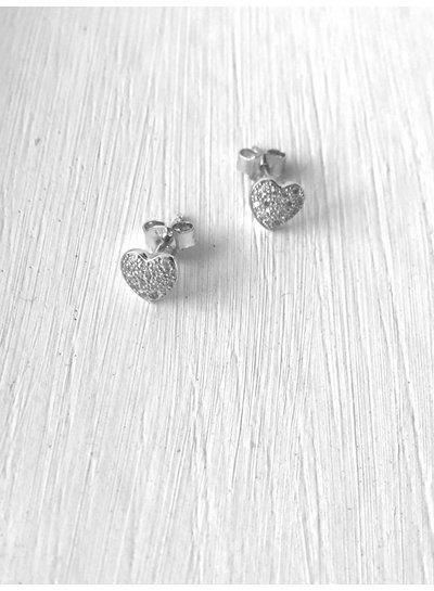 Amen Hartjes oorbellen in zilver met zirkonia