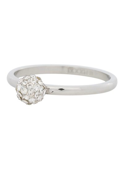 iXXXi Jewelry iXXXi Ring 2 mm 1 Ball Clear Crystal Zilver – R4204-3