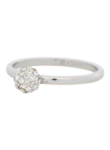 iXXXi Jewelry iXXXi Ring 1 Ball Clear Crystal Zilver – R4204-3
