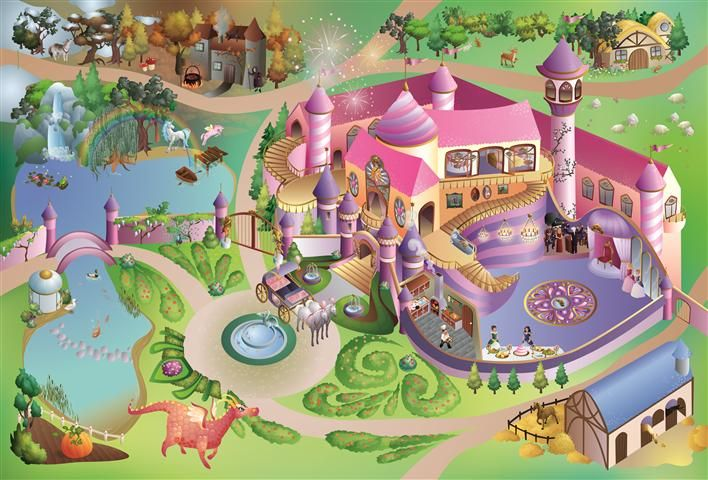 Speeltapijt meisjes - Roze speelmat meisjes met prinsessenkasteel