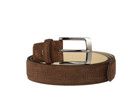 REHAB BELT SUEDE COBBLE DARK BROWN