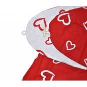 Hoes voor voedingskussen en zwangerschapskussen hartjes rood/wit